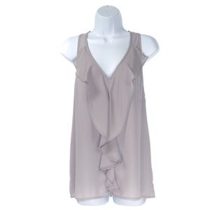 🆕 Guess Gray Tank Blouse with Front Ruffle